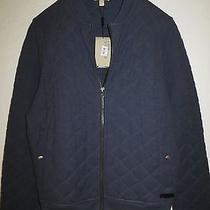 New Burberry Brit Marvel Quilted Cotton Carbon Blu Bomber Jacket  Size Xl Photo