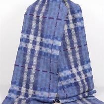 New Burberry Brit Unisex Cashmere Wool Periwinkle Blue Nova Check Scarf Muffler Photo