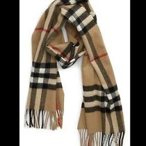 New Burberry Cashmere Fringed Camel Plaid Scarf Photo