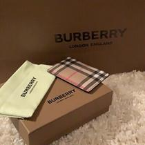 New Burberry Check Leather Card Case - Authentic Photo