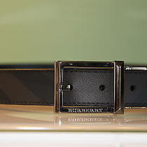 New Burberry Check Reversible Leather Belt Photo