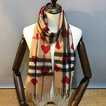 New Burberry Classic Check Red Heart Scarf 100% Cashmere Scarf Photo
