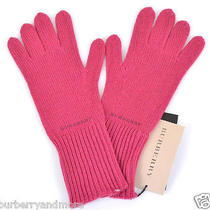New Burberry Fuschia Pink Cashmere Blend Knitted Touch Mittens Gloves 215    Photo