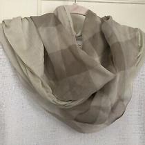 New Burberry Katey Lightweight Modal & Silk Beige Taupe Paneled Nova Check Scarf Photo