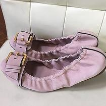 New Burberry Leather Buckle Pink Blush Skimmer Flats Size 40  Photo