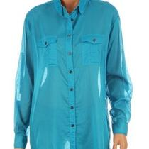 New Burberry Luxury Cotton Aqua Blue Long Button Down Shirt S Photo