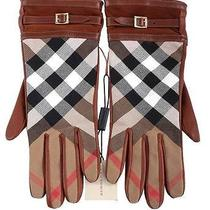 New Burberry Luxury Ladies Brick Lambskin Novacheck Wrist Gloves 7.5 Photo