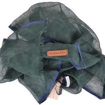 New Burberry Men's 325 Green & Blue Linen & Cotton Leather Logo Scarfitaly Photo
