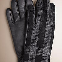 New Burberry Mens Luca Touch Wool Gloves in Dark Charcoal Check Classic Pattern Photo