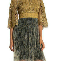 New Burberry Metallic Crochet Lace Pleated Twofer Dress Gold Elbow Bell Sleeves  Photo