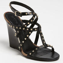 New Burberry Towney Black Studded Wedge Sandals Nova Check Size 39 595  Photo