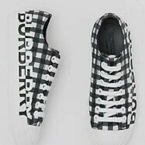 New Burberry White Squared Print Sneakers Size 40.5 Women Photo