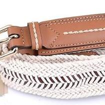 New Burberry Women's 375 Glyn Tan Leather Webbed Rope Belt36 90 Photo