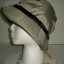 New Burberry Women Sz Large Gray Nylon Leather Belt Bucket Hat Cap Check Lined Photo