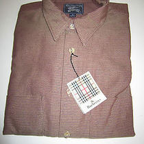 New Burberrys Mens 100% Cotton Mahogany Dress Shirt Size M Photo