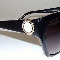 New Bvlgari Shiny Black Sunglasses 8121-H  With Gold & Mother of  Pearl Photo