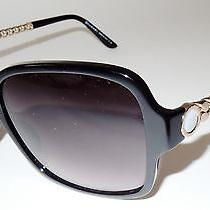 New Bvlgari Shiny Black Sunglasses 8125-H  With Gold & Mother of  Pearl Photo