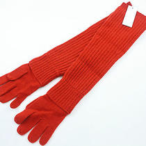 New Cacharel Wool & Camel Hair Red Long Knitted Ribbed Gloves (Rrp 113) Photo