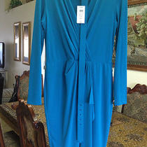 New Cache Blue Aqua Long Sleeve Dress Sz M 8 Photo