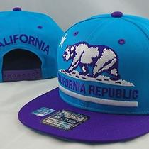 New California Republic Vintage Flat Bill Snap Back Hat Snapback Cap Aqua/purple Photo