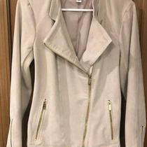New Calvin Klein Faux Suede Moto Jacket Light Cream Beige Gold Sz Medium 8 10 Photo