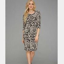 New Calvin Klein Three-Quarter-Sleeve Ruched Dress White Indigo Womens Size 2 Photo