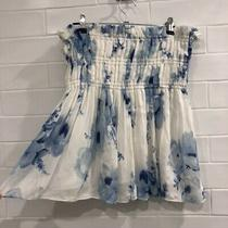New Camilla and Marc White Blue Floral Ruched Elasticated Skirt Rrp 399 Photo