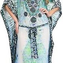 New Camilla Franks Silk Swarovski Dreamtime v Neck Kaftan W Belt Photo