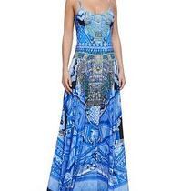 New Camilla Full Length Circle Maxi Skirt Silk Print Blue Crystals Size 1 Small Photo