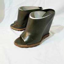 New Camilla Skovgaard Dark Green Mule Wedge Shoe Nappa 36.5 6 Photo