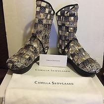 New Camilla Skovgaard Snake Skin Caged Boots Size 36 Us 6 Gladiator Wedge 595 Photo