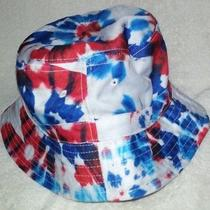 New Carbon Elements Tropical Bucket Hat White With Blue & Red Tie Dye  Photo