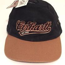New Carhartt Black Brown Cursive Logo Baseball Hat Adjustable Leather Strap Photo