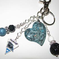 New Carolina Panthers Purse Charm Key Ring Chain- Jasper & Mother of Pearl Photo
