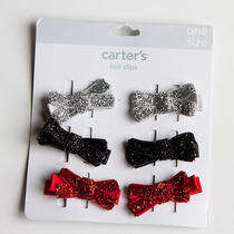 New Carter's 6 Pack Fancy Shimmery Hair Clips Hair Accessory Nwt  Photo