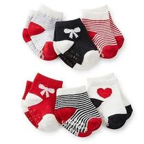 New Carter's 6 Pack Socks 0-3m Nwt Holiday Red Heart Bow Stripes Red Black Photo