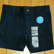 New Carter's Baby Chino Shorts Comfy Stretch Navy Blue Adjustable Waist 12 Mos Photo
