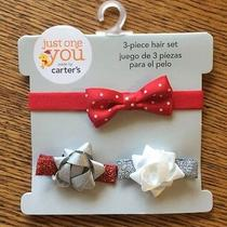 New Carter's Christmas 3pc. Hair Set Bow Headband & Clips Red/silver Glitter Photo
