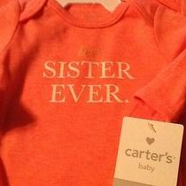 New Carters Baby Girl Best Sister Ever Long Sleeve Bodysuit Size 6 Mos Bt325 Photo