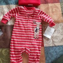 New Carters Baby Red Striped Reindeer Holiday Sleeper & Hat Photo
