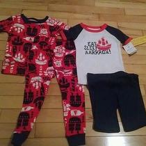 New Carters Boys 2t Pirate Pajamas Eat Sleep Aarrrgh Shorts 2 Sets Ship Red Blue Photo