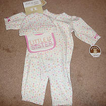 New Carters Girls 0-3 Month Little Sister 3 Piece Layette Set Converter Gown Nwt Photo