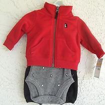 New Carters Newborn 3pc Holiday Set Red Fleece Jacket Pants Bodysuit 34 Photo