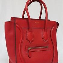 New Celine Coquelicot Red Micro Luggage Drummed Leather Bag  Photo