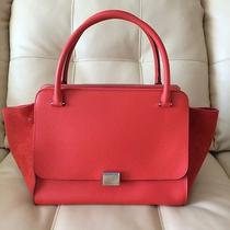 New Celine Drummed Leather Suede Double Zip Trapeze Luggage Vermillion Red Photo