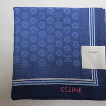 New Celine Handkerchief for Men Navy Blue Clover Pattern / Logo of Pink Japan  Photo