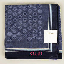 New Celine Handkerchief / Mini Scarf Bandanna Clover Japan-Made Rare  Photo