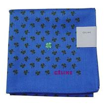 New Celine Handkerchief / Mini Scarf Clover Print Blue Japan-Made Limited Rare Photo