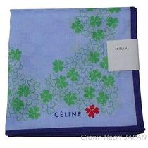 New Celine Handkerchief / Mini Scarf Monogram Clover Lightblue Jp-Made Rare Photo