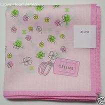 New Celine Handkerchief / Mini Scarf Pink Clover Print Japan-Made Limited Photo